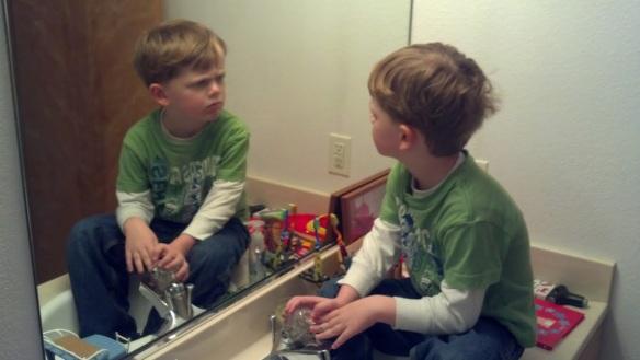 AJ in the mirror